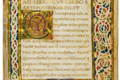 Ludovico Carbo: De divi Mathiae regis laudibus rebusque gestis dialogus,1473–1474 k. MTA Könyvtár és Információs Központ (K 397) - Az ajánlás kezdete